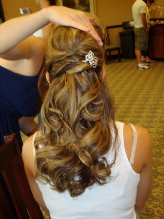 Hair half up, curly
