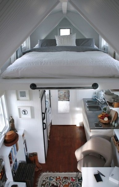 Would replace the kitchen under the bed with desk and stuff but like the design
