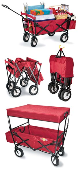 Folding Wagon Easily hauls 120 pounds…includes a shade canopy.