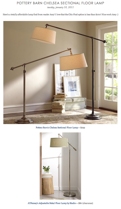 COPY CAT CHIC FIND: Pottery Barn's Chelsea Sectional Floor Lamp VS JCPenney&