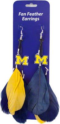 Michigan Wolverines Fan Feather Earrings