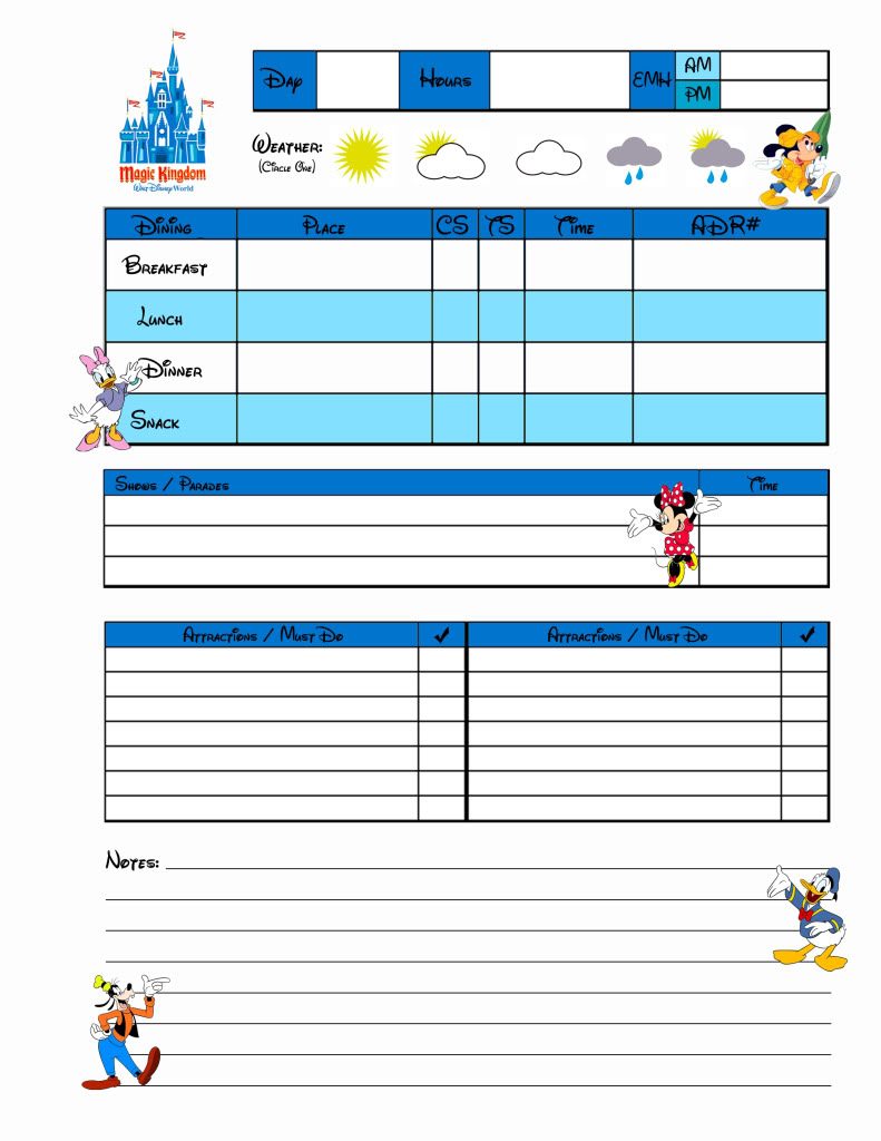 Planning sheets for Disney World!!