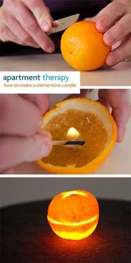 Oranges burn like candles. No messy wax, and no wick required. Who knew? I bet t