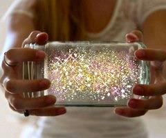 How To Make Fairies In A Jar   1. Cut a glow stick and shake the contents into a