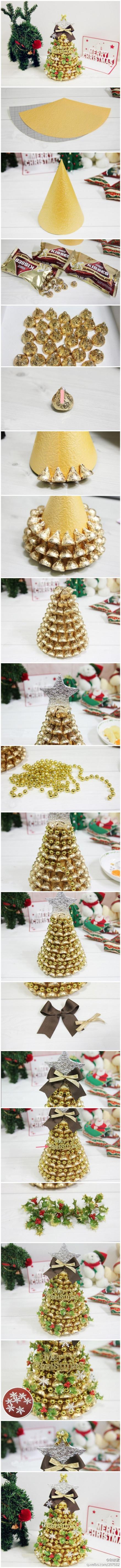 DIY Gold Kisses Christmas Tree!