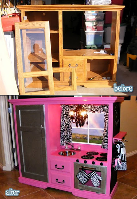 Turn an old entertainment center into a play kitchen we for Kitchen set for 8 year old