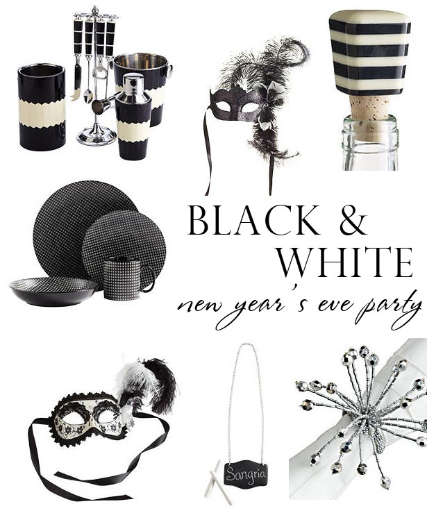 Black & White New Year's Eve Party Inspiration ~ loving the stripe wine
