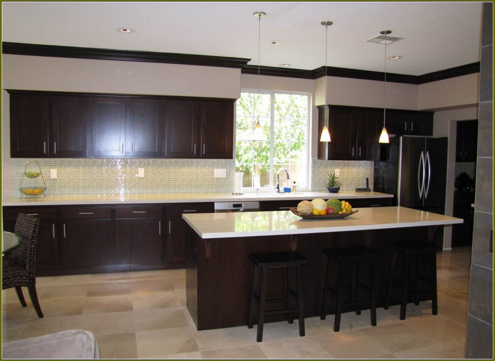Cabinets. kitchen cool kitchen decoration with light maple kitchen ... -   Espresso-stained kitchen cabinetry.
