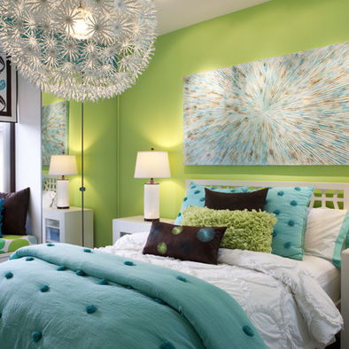 Teen Girl Bedroom turquoise & green. Happy :D | We Know How To Do It