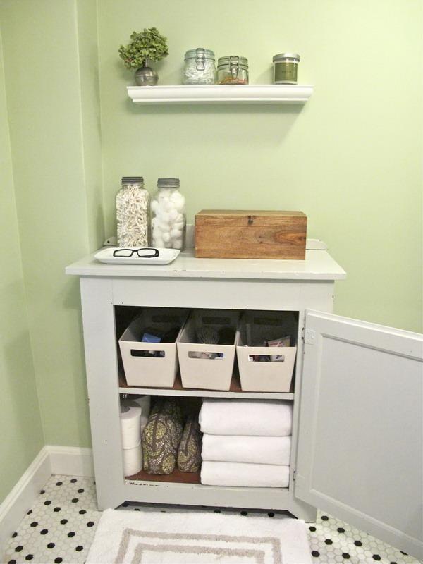 Small Bathroom Storage. Add a shelf to the sink cabinet