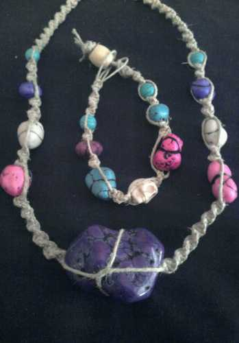 $6 Starting Bid: #Handmade Howlite Hemp Necklace and Skull Bracelet