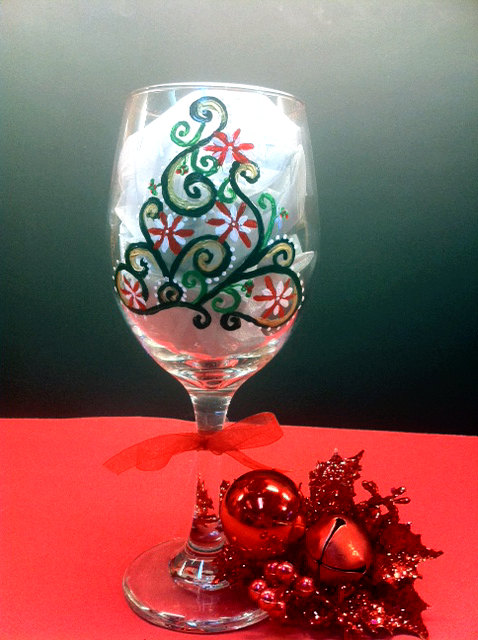 Hand Painted Wine Glasses Christmas Tree We Know How To Do It