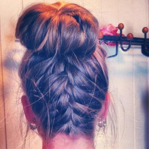 French braid bun.
