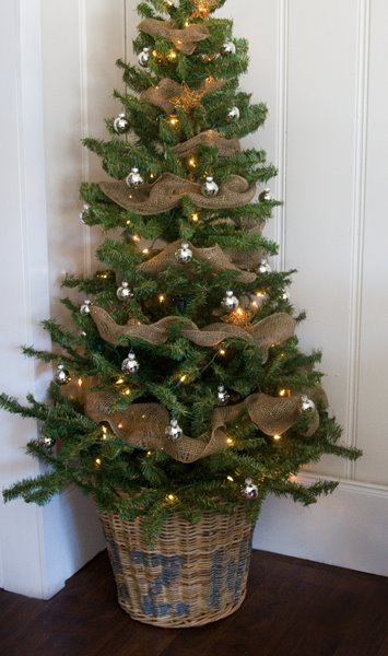 Christmas Tree Decorated with Burlap