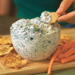 healthy spinach dip – no cream cheese, uses blended cottage cheese!