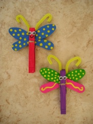 clothes pin and two wooden craft spoons. Super cool for a garden, butterfly, gir