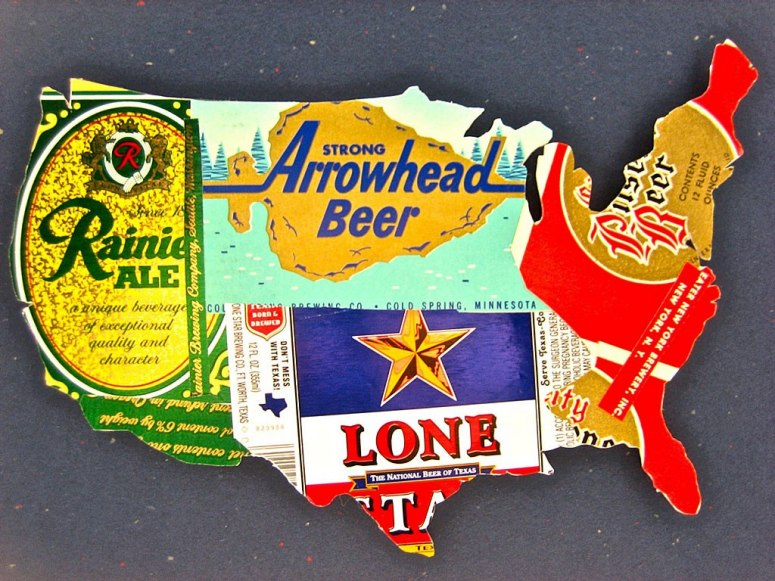 Beer Can Darl, vintage beer can map of the U.S. for the apartment #yesplease