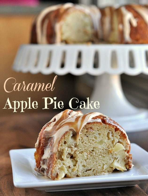 Caramel Apple Pie Cake with @Duncan Hines cake mix and frosting creations flavor