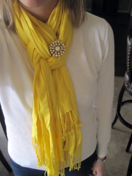 Fold scarf in half. Loop around neck. Pull only one strand of the scarf through