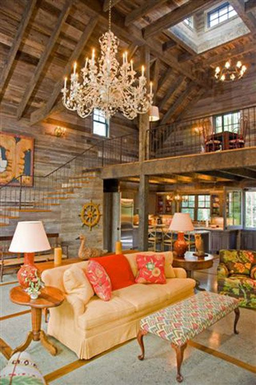 Ooooo decorated more country, just lke the barn look of the house and old wood.
