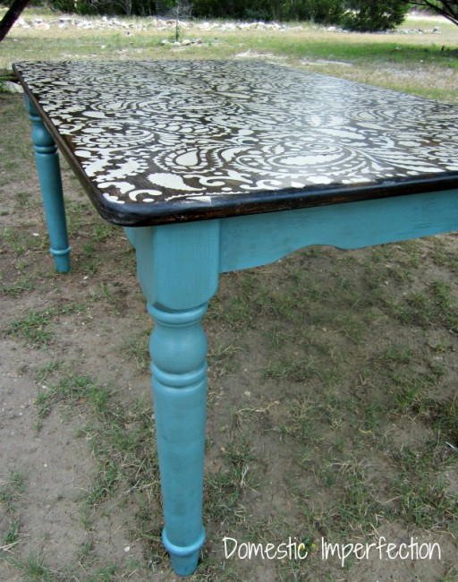 She Painted A Stencil Design On A Tabletop In White And Then Stained