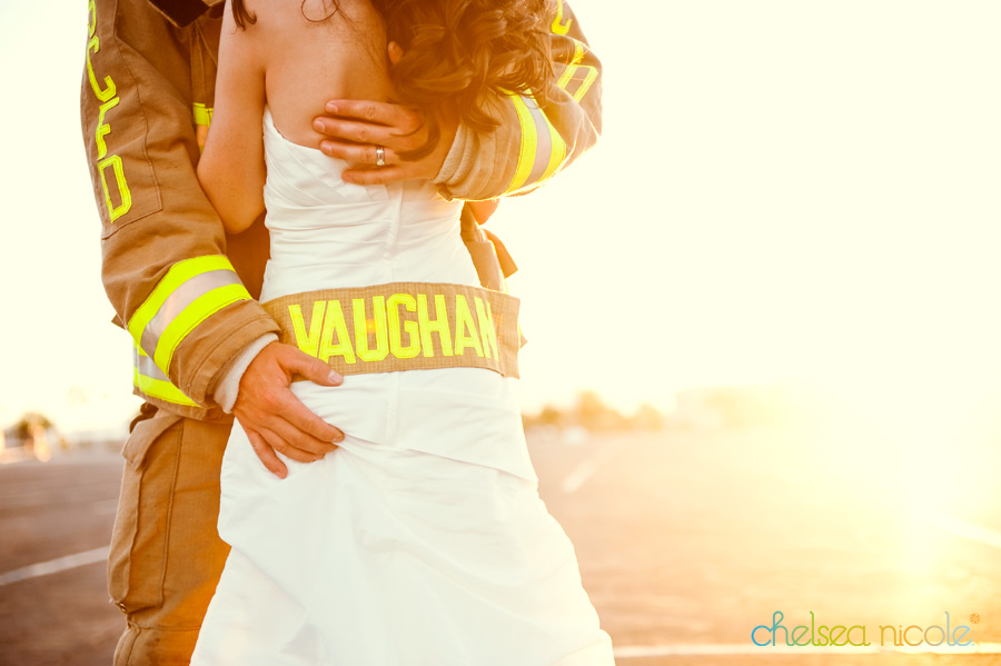 LAS VEGAS NV Proudly Wearing Her New Last Name Firefighter Wedding