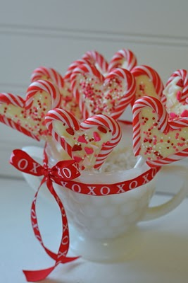 make these every year :) they are so easy and cute  set 2 mini-candycanes into h