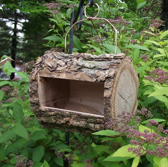 Log Bird Feeder Handmade from Reclaimed Tree Branch Natural -   DIY Natural Bird Feeder