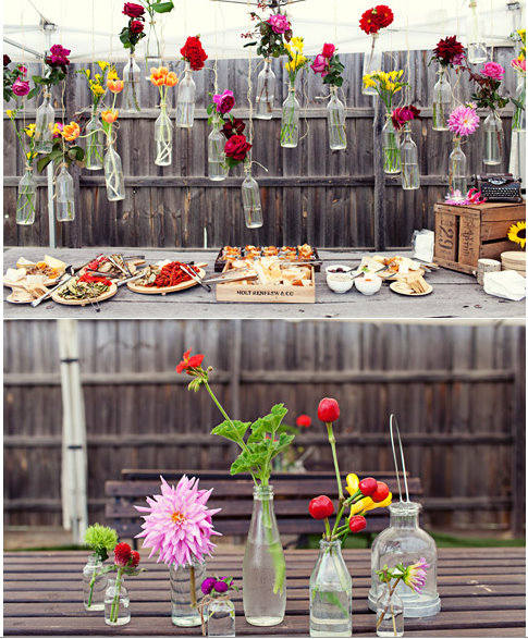 9. Having a party? Tie vases to the fence and fill with plants or flowers. -   32 Cheap And Easy Backyard Ideas