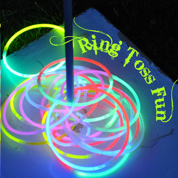 6. Use glow necklaces and glow bracelets for a few rounds of night time ring toss. -   32 Cheap And Easy Backyard Ideas
