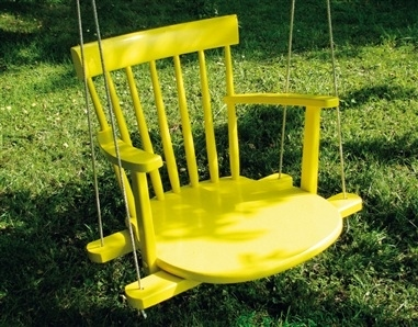 2. Turn an old chair into a swing. -   32 Cheap And Easy Backyard Ideas
