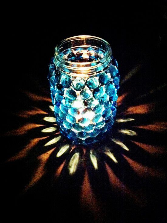1. Mason Jar + Vase Gems = Amazing DIY Candle Jar… So pretty in the dark! -   42 Easy Things To Do With Mason Jars