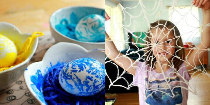 Yarn Art For Kids – Yarn Spiderwebs and Yarn Printed Eggs