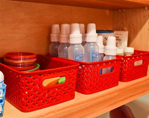 Great idea for a kitchen cabinet of baby stuff.