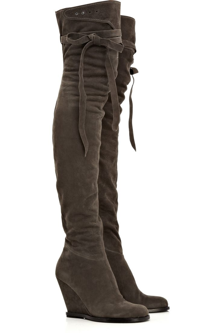 Sexy wedge boots! Nubuck wedge thigh boots by Camilla Skovgaard.