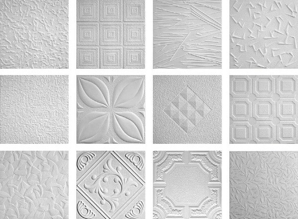 Styrofoam ceiling tiles patterns textures budget friendly ceiling design