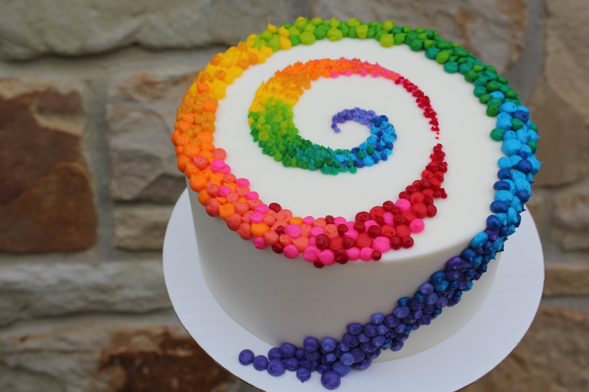 Colorful Patterned Swirl on White Cake: Birthday Cakes, Colorful Cakes