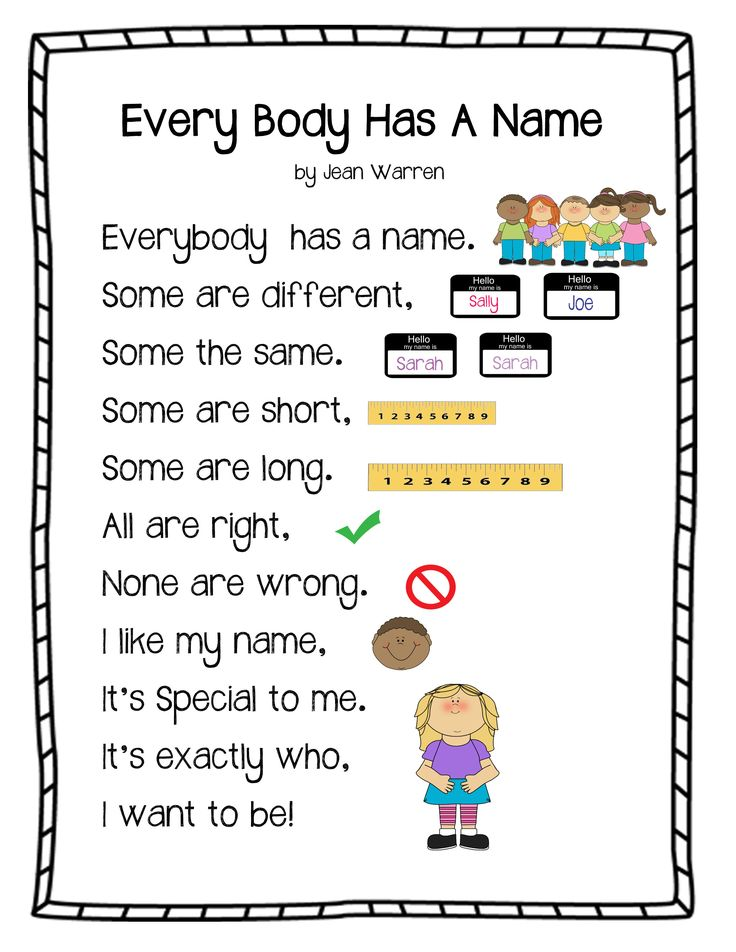"""""""Every Body Has a Name Poem"""""""
