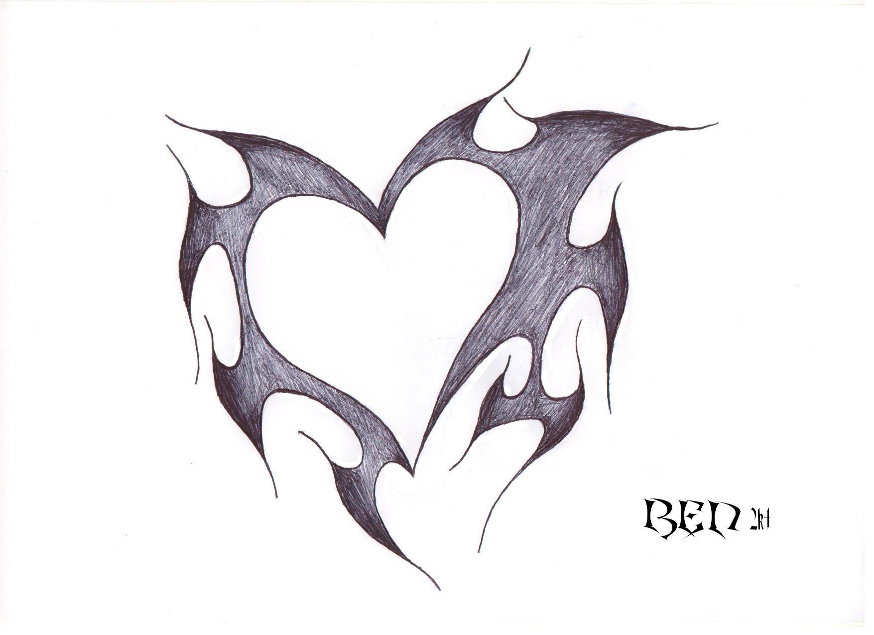 drawings of hearts - HD1755×1275