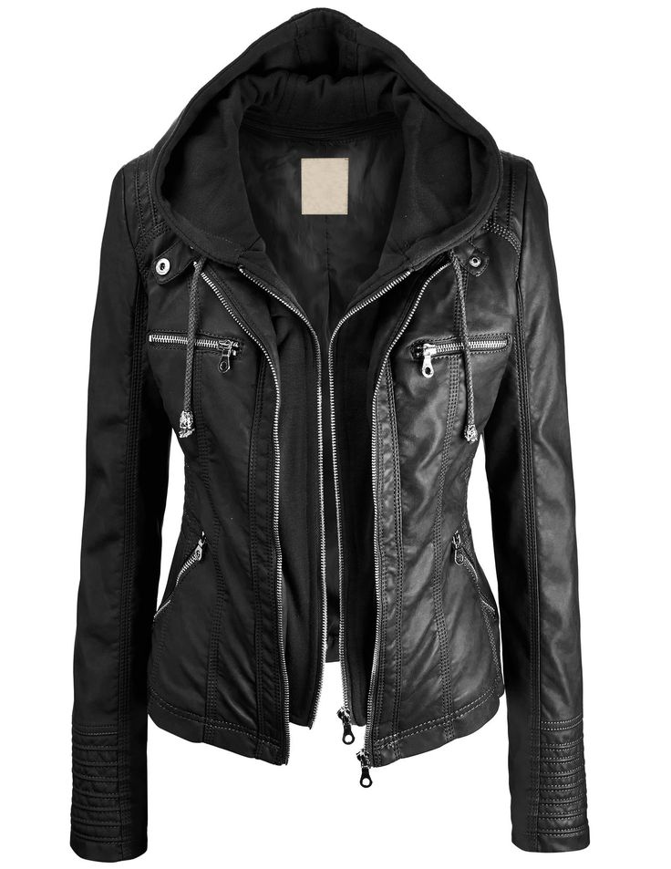 Lock and Love Women's 2-For-One Hooded Faux leather Jacket at ...