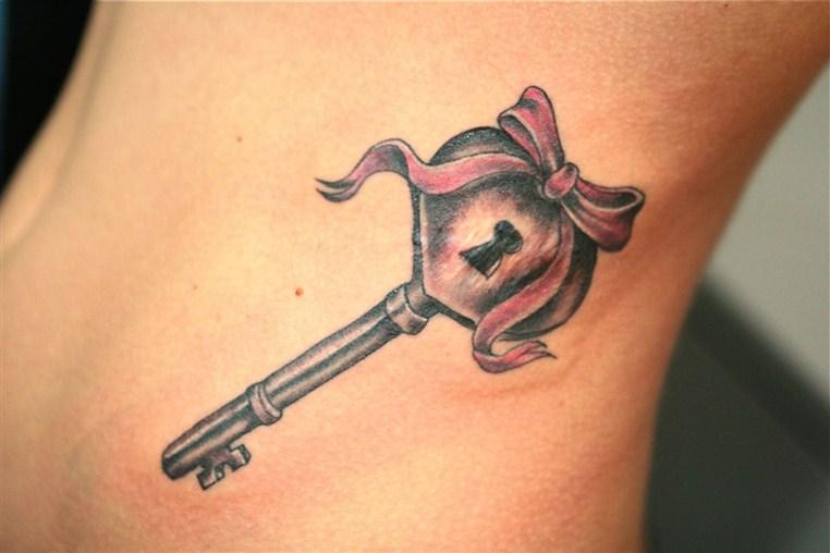 owl lock and key tattoo -   Bow Key Tattoo Design Ideas