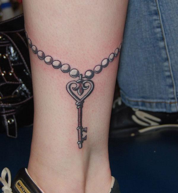 Beautiful Lock & Key Tattoos -   Bow Key Tattoo Design Ideas