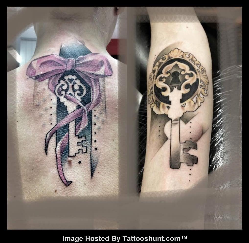 Bow And Lock Key Abstract Tattoo -   Bow Key Tattoo Design Ideas