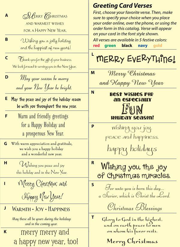 Christmas card sentiments