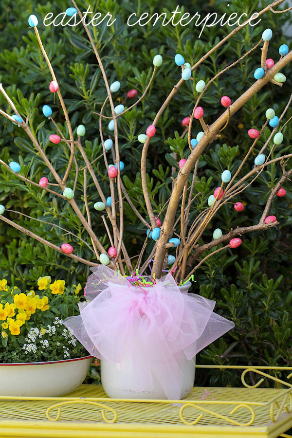Simple Easter Centerpiece Dyed Easter Eggs In Narrow ... -   Easter Centerpiece Ideas