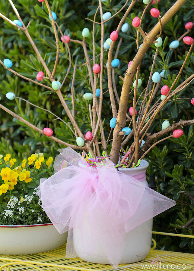 Simple Easter Centerpiece Dyed Eggs In Narrow