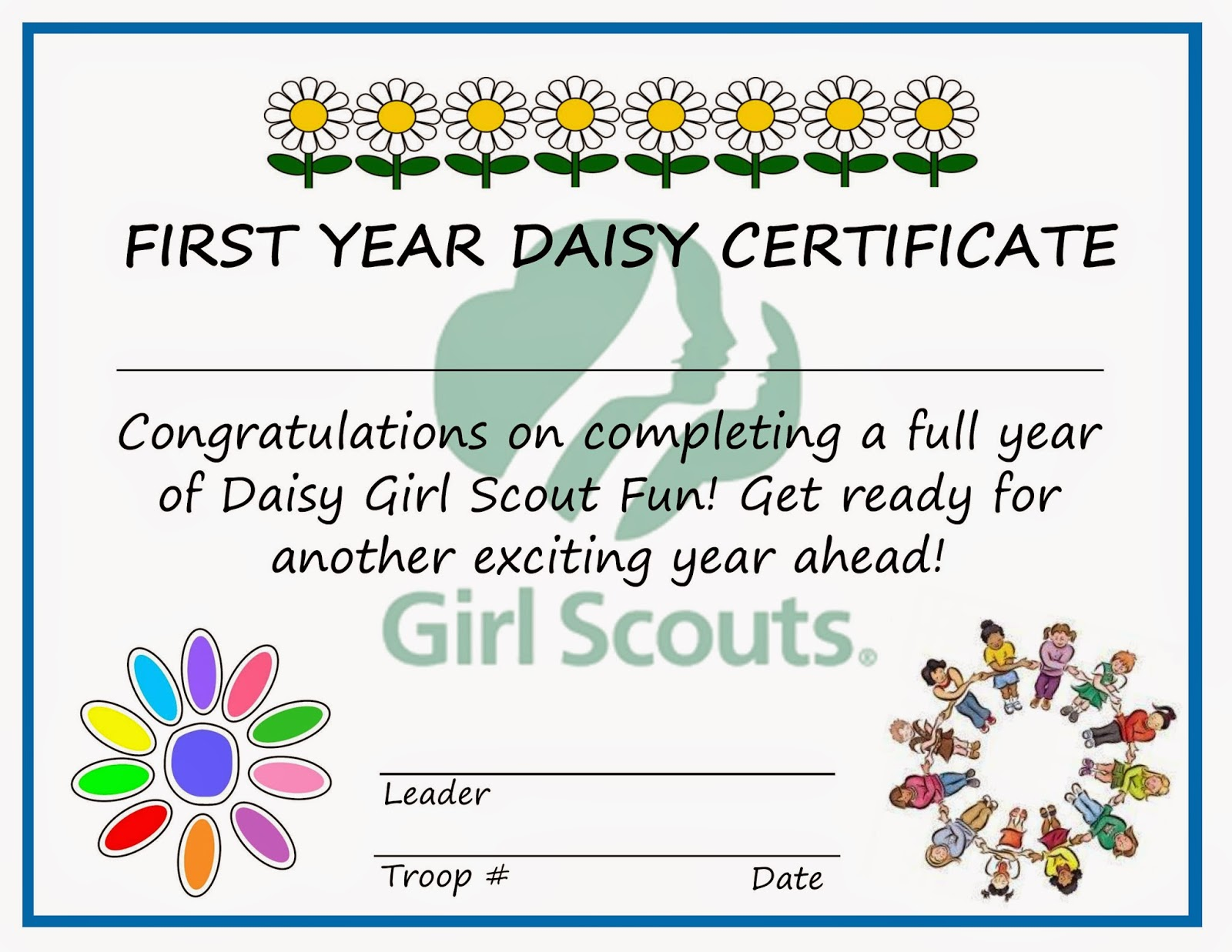 photograph relating to Girl Scout Certificates Printable Free named Female Scouts Daisy Welcome Certification Designs We Recognize How In the direction of