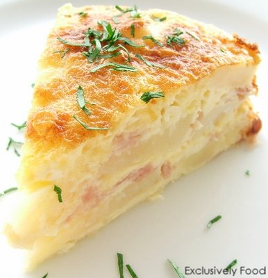 Sunday Brunch - Ham, Egg and Potato Bake with Cheddar and Parmesan..