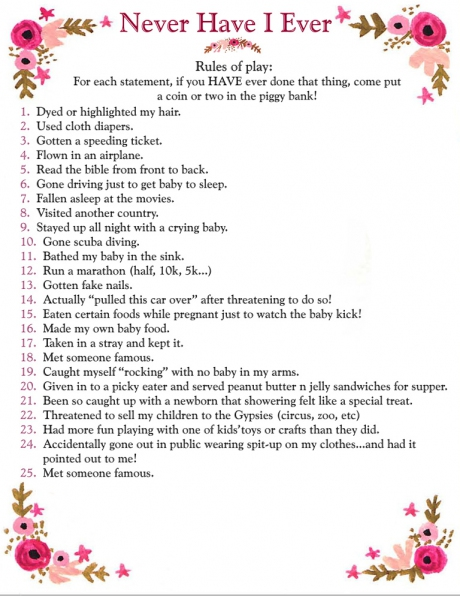 Interesting baby shower game.