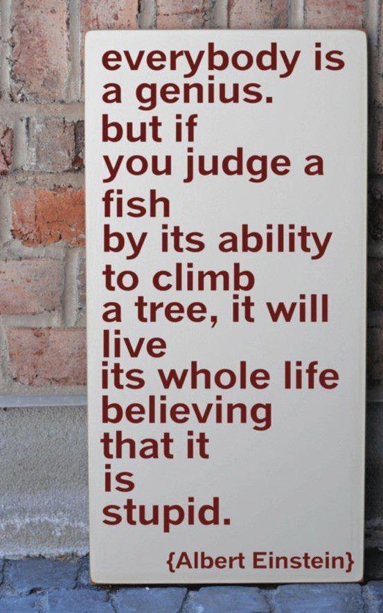 """""""Todos somos genios, mas se você julgar um peixe pela sua habilidade de subir em uma árvore, isso fará com que passe a sua vida inteira acreditando que o peixe é um idiota"""" - Albert Einstein"""